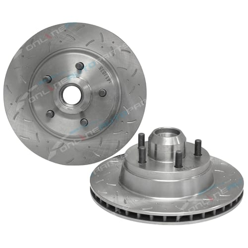 2 Front Disc Brake Rotors Falcon EB ED ABS 7/91-94 XR6 XR8 Ford Fairmont 7/1991-1994 Dimpled Slotted