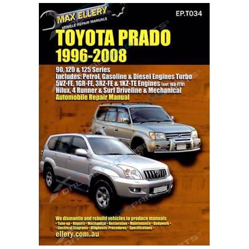 Workshop Repair Manual suits Toyota Landcruiser Prado 96~08 Book VZJ95R KZJ120R