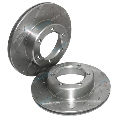 2 Front Slotted Disc Brake Rotors suit Toyota LN167 LN170 LN172 Hilux 4x4 Ute Dimple Drilled + Slotted Pair 1997 to 2005