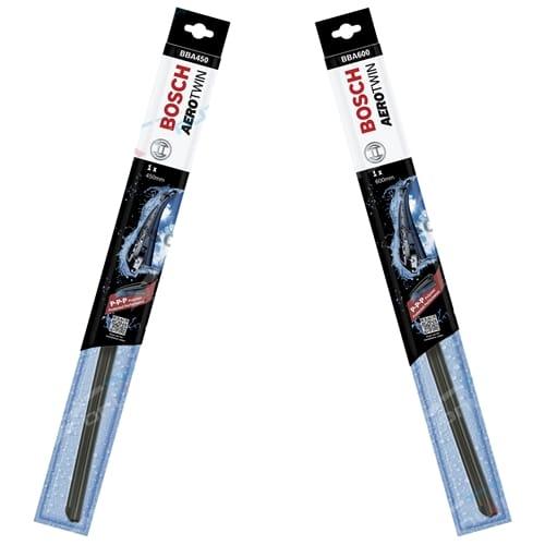 Front Pair Wiper Blades Daewoo Tacuma U100 Bosch Aerotwin 2000 to 2004