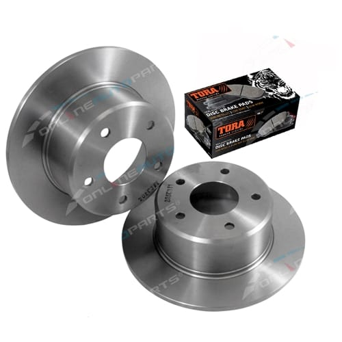 2 Rear Disc Rotors + Brake Pads suits Toyota Lexcen VN VP VR VS V6 non IRS Sedan + Station Wagon 1991 to 1997