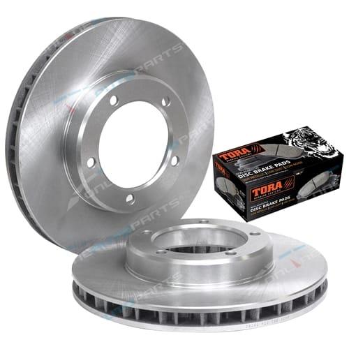 2 Front Disc Rotor + Brake Pad Kit suits Landcruiser VDJ76R VDJ78R VDJ79R 4X4 2007 to 2017