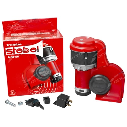 Stebel BRIO La Dolce Vita Nautilus Air Horn Kit Red 12 volt - Switchable Alternating + Harmonised