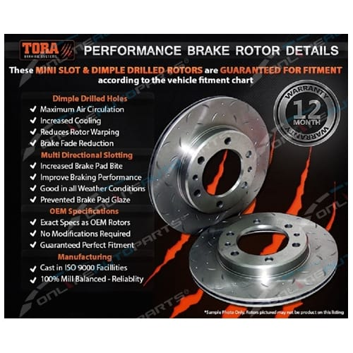 2 Rear Brake Rotor Nissan 200SX S14 S15 Silvia 2.0 4cyl 2.0L incl Turbo - Drilled & Slotted Disc Pair