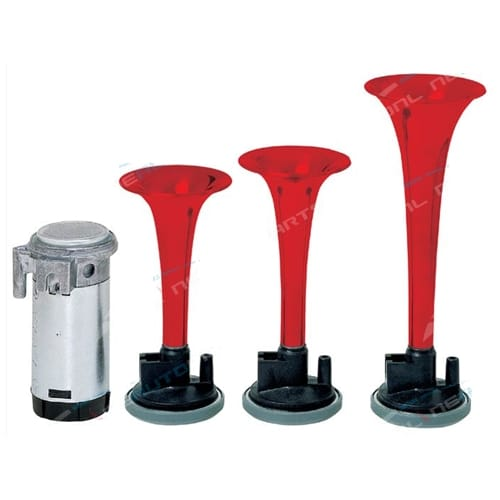 Triple Trumpet Car Air Horn Kit 12 volt Italian Design Stebel Set with New Relay