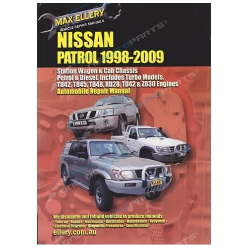 Workshop Repair Manual Nissan Patrol 98-09 GU Y61 Book Petrol & Diesel inc Turbo