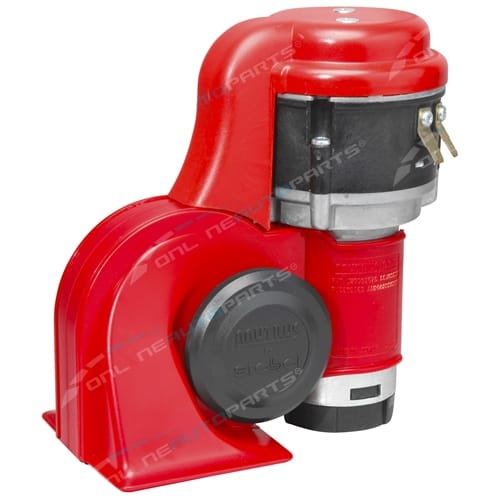 Stebel BRIO La Dolce Vita Nautilus Air Horn Kit Red 12 volt - Switchable Alternating + Harmonised
