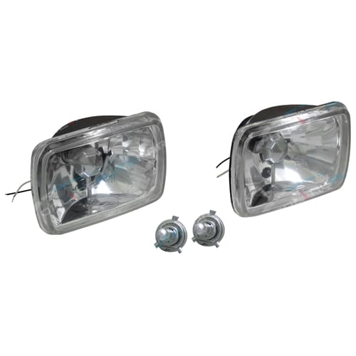 New Crystal H4 60/55w Bright Rectangle Headlight Kit Courier PC Ute 85-96 Lamps