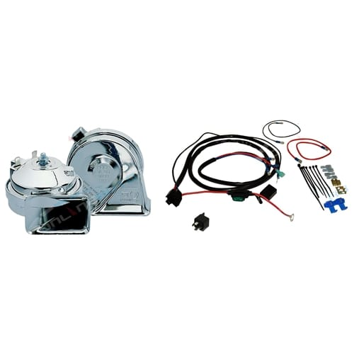 Stebel Chromed Twin Electric Horn Kit 12volt 136dB Chrome Horn + Relay + Wiring