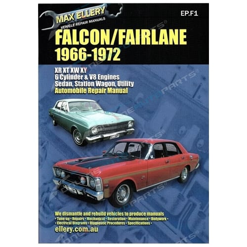 Workshop Repair Manual Ford Falcon Fairlane XR XT XW XY 66-72 Book GT HO Phase 3