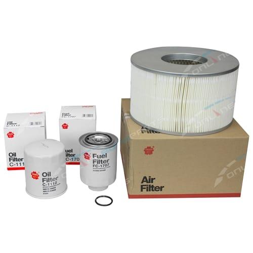 Sakura Air Oil Fuel Filter Service Kit suits Toyota Landcruiser HDJ100 1HD-FTE 4.2L Turbo Diesel Engine
