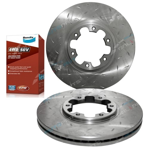 Front Drilled + Slotted Disc Brake Rotors Bendix Pads suit Nissan Pathfinder R50 Bendix 4wd Disc Pads and Tora Rotor Set