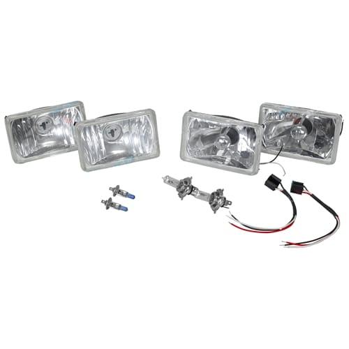 4 Semi Seal Conv Kit H1 + H4 Rectangle Crystal Lamps + Bulbs Headlight Autopal