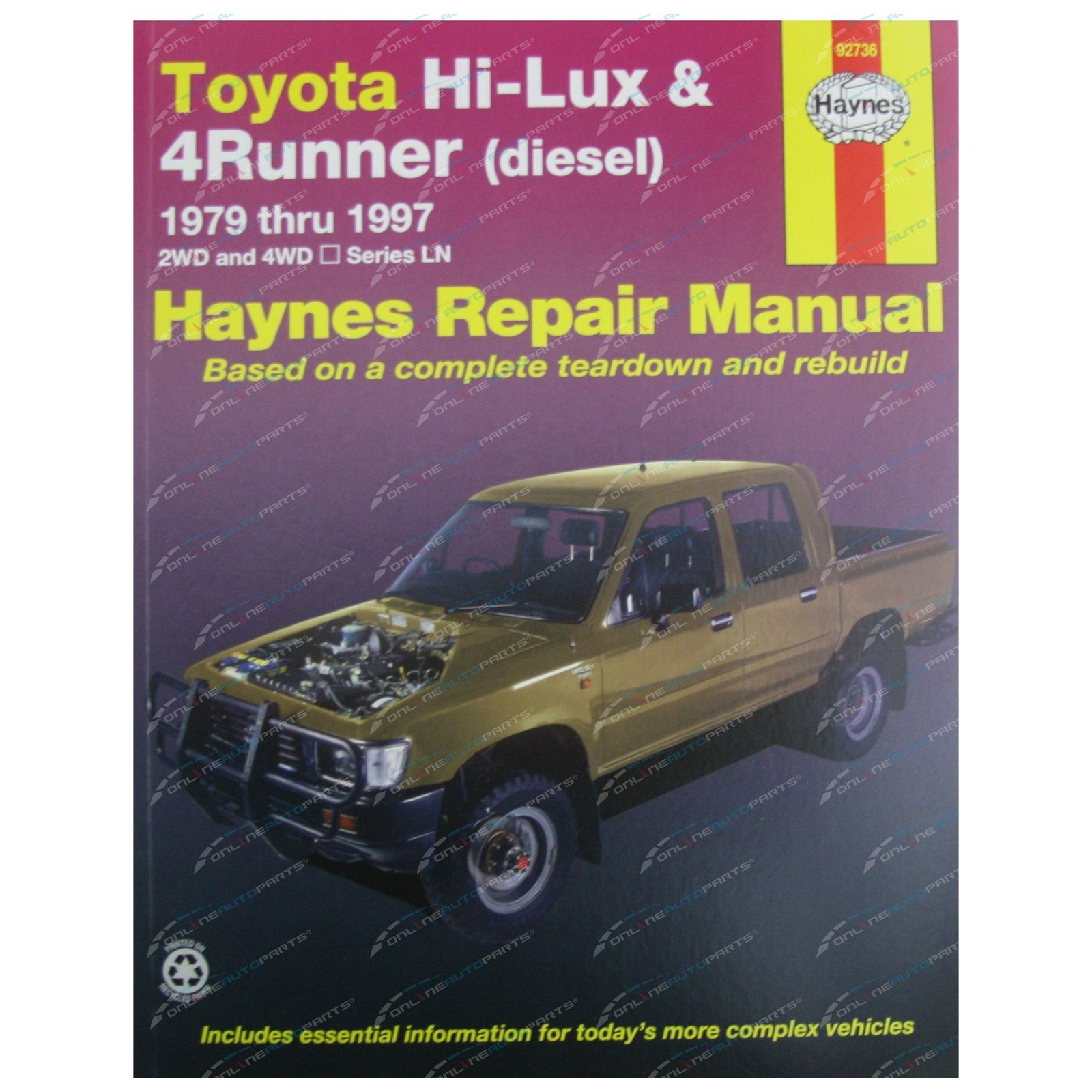 Haynes Car Repair Manual Book Diesel suits Hilux 1979-97 Toyota 2wd + 4wd  Ute
