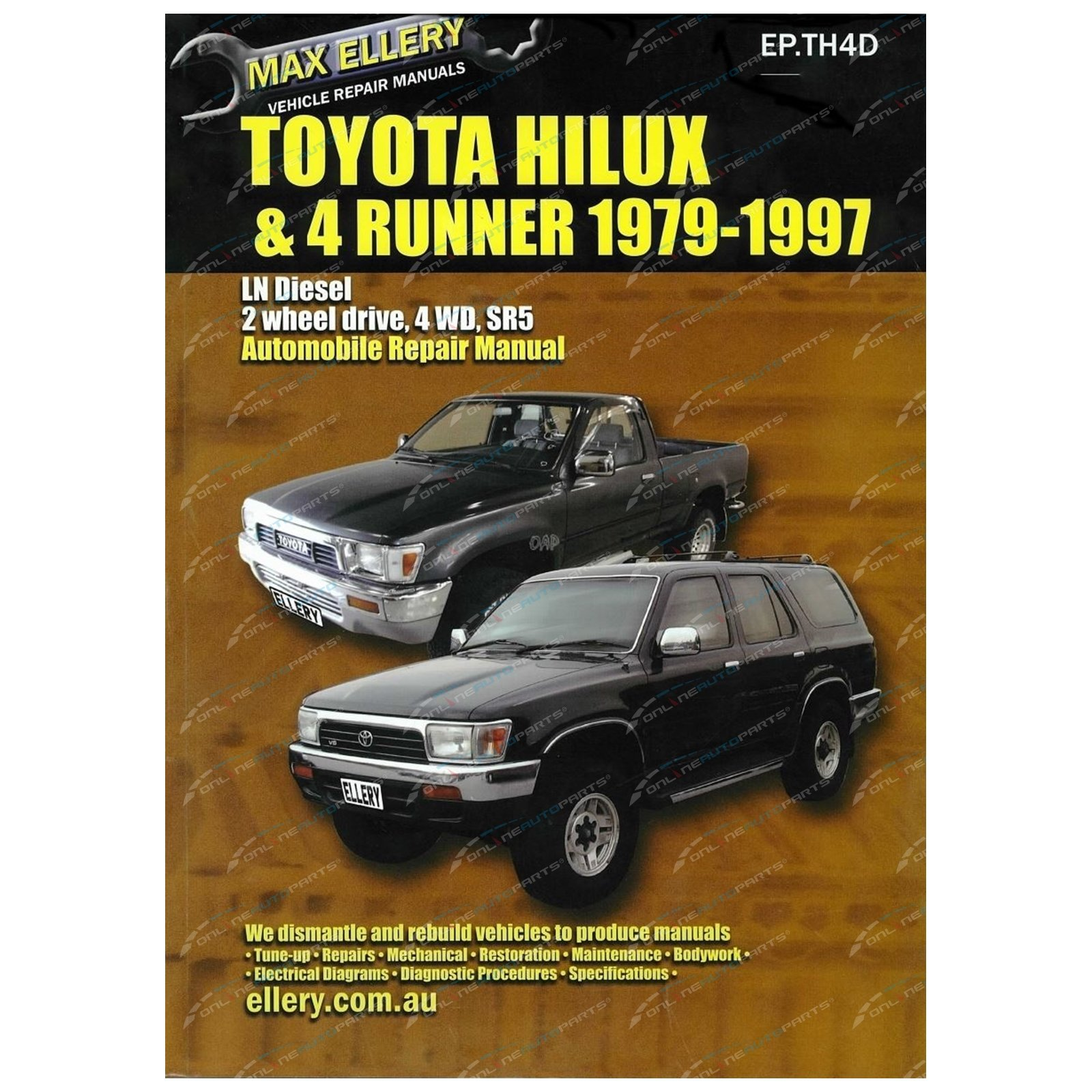 Workshop Repair Manual Book Suits Toyota Hilux 4x4 28l 3l Ln106 1992 4runner User Click To Enlarge