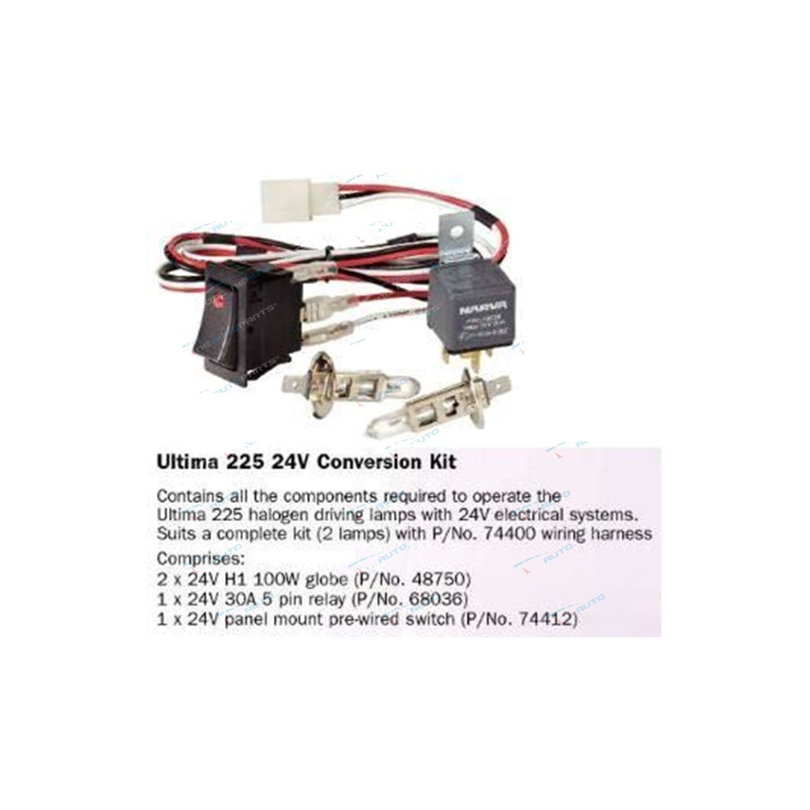 Narva Ultima 225 Conversion Kit Suits 24 Volt Cars Halogen Bulbs Wiring Harness Click To Enlarge
