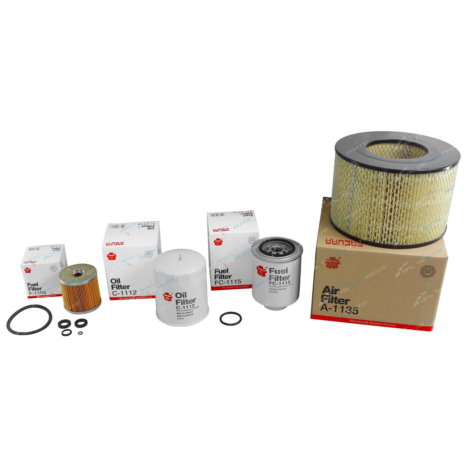 Sakura Air Oil & Fuel Filter Kit suits Landcruiser HDJ79R 6cyl 4 2L 1HD-FTE  2001 2002 2003 2004 2005 2006 2007 Toyota