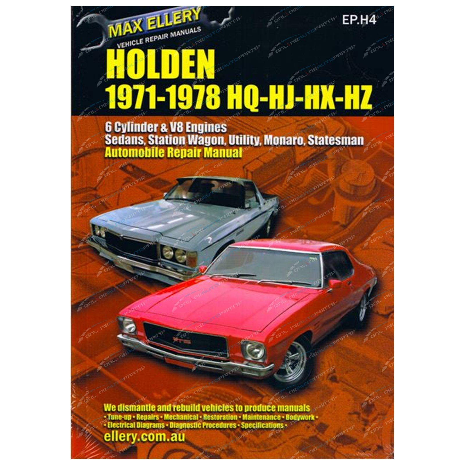 New Workshop Repair Manual Holden Kingswood HQ HJ HX HZ 6cyl V8 Monaro New  Book