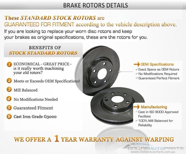 2 Rear Disc Brake Rotors suits Hyundai Sonata EF EF-B 2.0L 2.5L 2.7L 2.4L Sedan 1998 1999 2000 2001 2002 2003 2004 2005