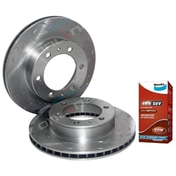 2 Front Drilled Slotted Disc Rotor suits Toyota Hilux 4x4 KUN25 KUN26 GGN25 with Bendix Brake Pads 2005 to 2013