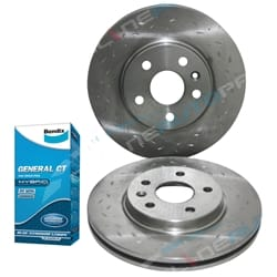 Front Disc Rotors Slotted Dimpled Holden Cruze Bendix GCT Brake Pads Cruze JG JH 2009 2010 2011 2012 2013 2014