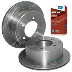Rear Drilled + Slotted Disc Rotors suits Toyota Landcruiser FZJ105 HZJ105 Plus Bendix 4WD Brake Pads 1998 to 2007
