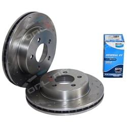 Drilled+Slotted Disc Rotors+ Bendix Brake Pads Disc Rotor Tora + Bendix GCT