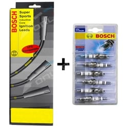 Bosch Ignition Spark Plugs + Lead Kit Commodore VC VH VK 2.8L 3.3L 202 6cyl 1980 1981 1982 1983 1984 1985 | ZPN-23378