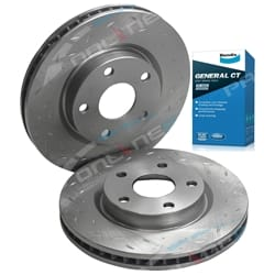 2 Front Disc Brake Rotors Drilled + Slotted + Pads Disc Rotor Tora + Bendix GCT