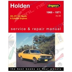 Gregory's Workshop Repair Manual Holden HK HT HG 8Cylinder 253 307 308 327 350 1968 1969 1970 1971 | 04085