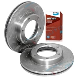 2 Front Disc Rotors suits Landcruiser 80 Series Dimpled + Slotted + Bendix Pads Toyota 1990 to 8/1992