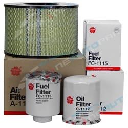 Air Oil Fuel Filter Service Kit suits Toyota Landcruiser 70 75 78 80 Series - Sakura 1990 to 2007 | FKTLD7080