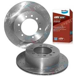 2 Rear Slotted+Drilled Disc Rotors + Bendix 4x4 Brake Pads Nissan Patrol GU Y61 incl Safari