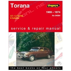 Gregory's Workshop Repair Manual Holden Torana LC LJ 1969 to 1976 6Cylinder | 04084