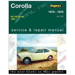 Gregorys Workshop Repair Manual suits Toyota Corolla KE KB Series 1200 4Cyl 1970 1971 1972 1973 1974 1975 1976 1977 1978 | 04122