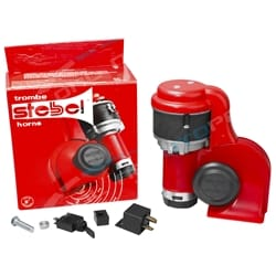 Stebel BRIO BP3 Nautilus Air Horn Kit Red 12 Volt 139dB LOUD Switchable Alternating + Straight Blast | ZPN-00785