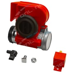 Stebel Nautilus Compact 12 volt Car Air Horn Red 139dB LOUD Bike Truck Italian Design New w/ Relay | ZPN-01301