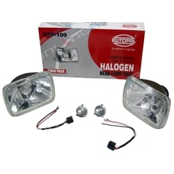H4 Halogen Headlight Upgrade Kit 2 Crystal Multi Relector Lamps + Globes - Hilux Rectangle Lamps Toyota 1983 to 2005 Hilux Ute | ZPN-04186