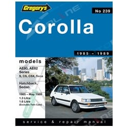 Gregory's Workshop Repair Manual Book suits Toyota Corolla AE80 AE82 1.3L 1.6L 1985 1986 1987 1988 1989   04239