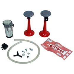 Compact Twin Trumpet Red Air Horn Kit 12 volt 115dB + Relay Stebel Italian Design - Car - Truck | ZPN-01294