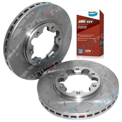 2 Front Disc Rotors Slotted+Drilled + Bendix 4x4 Brake Pads Nissan GU Y61 Patrol