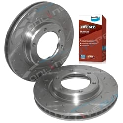 2 Front Disc Brake Rotors suits Toyota Landcruiser 9/1992-1998 80 Series Drilled Slotted with Bendix Pads