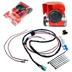 139dB Stebel Nautilus Compact RED Car Air Horn Kit incl Relay + Wiring Harness -Very Loud - Brand New