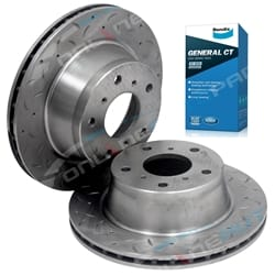 2 Front Slotted & Drilled Disc Rotors + Brake Pads suits Holden Commodore VR VS incl Statesman Calais 1993-2000 Bendix GST Pads