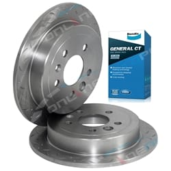 2 Rear Disc Rotors Drilled+Slotted Bendix GCT Pads Ford Falcon AU 1998-4/2000 Series 1 Brakes