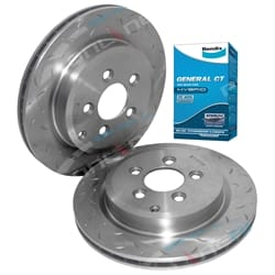 2 Rear Slotted Disc Rotor Ford Territory TX TS 6/04-11 RWD 4x4 with Bendix GCT Brake Pads