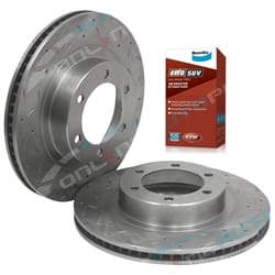 2 Front Disc Rotors + Brake Pads suits Toyota Prado 120 Series Slotted Drilled GRJ KDJ KZJ RZJ Landcruiser Bendix