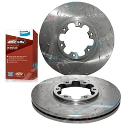 2 Drilled & Slotted Disc Rotors + Bendix 4WD Brake Pads suits Navara D22 4X4 2000 to 2016 with 300mm Diameter Rotors