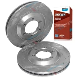 2 Front Brake Rotors + Bendix Pads Colorado D-Max Holden + Isuzu 2008-2012 - Drilled Slotted Disc