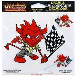 Devil with Flag Car Tattoo Vinyl Window Decal Sticker